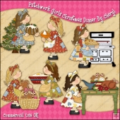 Patchwork Girls Christmas Dinner ClipArt Graphic Collection