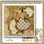Lady In Plaid Dress With Roses Square Card Front