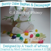 Bunny Cube Basket with Decoupage
