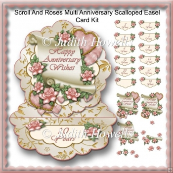 Scroll And Roses Multi Anniversary Scalloped Easel Card Kit