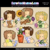 Little Audrey Loves Flowers ClipArt Graphic Collection