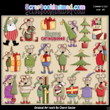 Merry Christmas Mouse ClipArt Graphic Collection