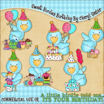 Sweet Birdies Birthday ClipArt Graphic Collection