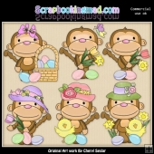Cuddle Monkey Easter ClipArt Collection