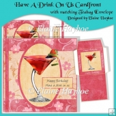 Have A Drink On Us Cardfront with Decoupage