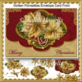 Golden Poinsettias Envelope Card Front