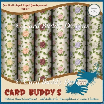 Six 12x12 Aged Roses Background Papers