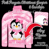 Pink Penguin Christmas Jumper Card & Envelope - PERSONALISE NAME