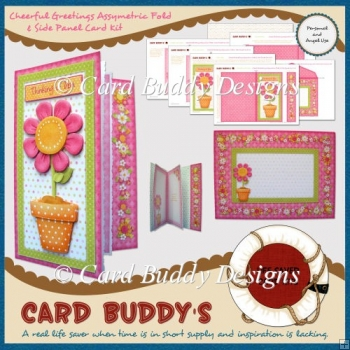 Cheerful Greetings Assymetric Fold & Side Panel Card Kit