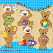 Stuffed Bears In Space ClipArt Graphic Collection