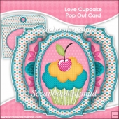 Love Cupcake Double Pop Out Card & Envelope