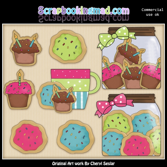 Birthday Sugar Cookies ClipArt Graphic Collection - Click Image to Close
