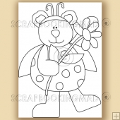 Lady Honey Bear - Digital Stamps
