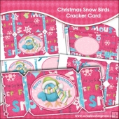 Christmas Snow Birds Cracker Card Download