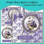 Purple Pansy Basket Cardfront