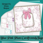 Blue Pink Plum Blank Cardfronts Tags and Bows