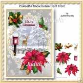 Poinsettia Snow Scene Card Front