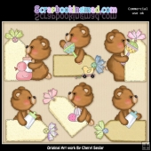 Fuzzy Cubs Baby Tags ClipArt Collection