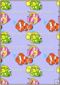 A4 Backing Papers Single - Lilac Fish - REF_BP_177