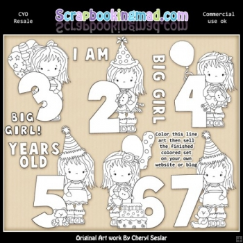 Little Grechin Birthday Numbers CYO ClipArt RESALE SET