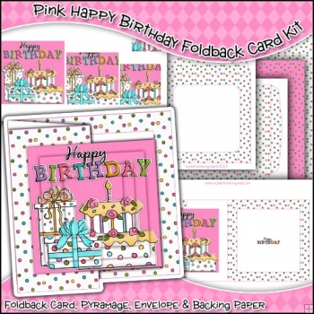 Pink Happy Birthday Foldback Card, Envelope & Backing Paper