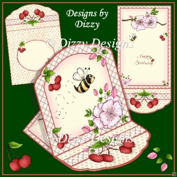 Cherry Blossom Bee Easel Card