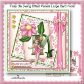 Fairy On Swing Offset Panel Large Card Front