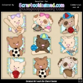 RESALE ART WORK Doggy All Stars ClipArt Collection