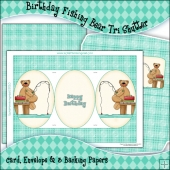 Birthday Fishing Bear Tri Shutter Card