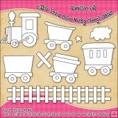 Little Train Colour Your Own Clip Art RESALE SET