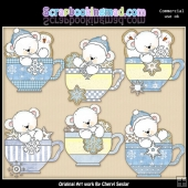 Polar Bear Snowflake Teacups ClipArt Collection