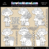Adalees Simply Flowers Colour Your Own ClipArt RESALE SET