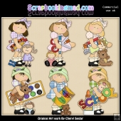 Hannah and Katie School Days ClipArt Graphic Collection