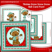 Tibbles Snow Snow Snow Large 8x8 Card Front