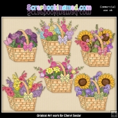 Beautiful Flower Baskets ClipArt Graphic Collection