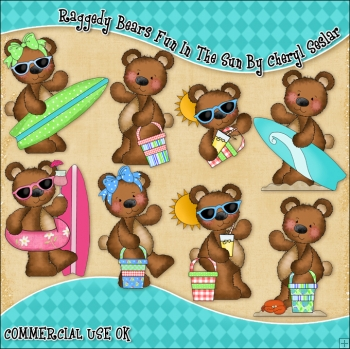 Raggedy Bears Fun In The Sun ClipArt Graphic Collection