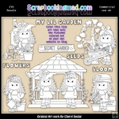 Beautiful Bella Secret Garden Colour Your Own ClipArt RESALE SET