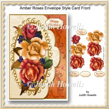 Amber Roses Envelope Style Card Front