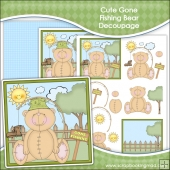 Cute Gone Fishing Bear Decoupage Download