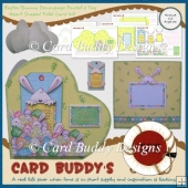Easter Bunny Decoupage Pocket & Tag Heart Shaped Fold Card Kit