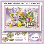Floral Arrangement Pyramid Card Front And Insert
