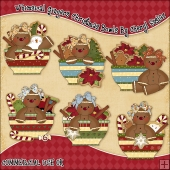 Whimsical Gingers Christmas Bowls ClipArt Graphic Collection