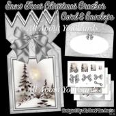Snow Trees Christmas Cracker Card & Envelope