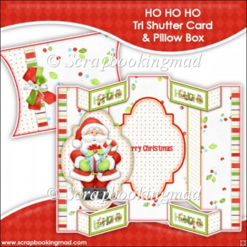 Ho Ho Ho Tri Shutter Card With Matching Pillow Box