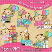 EXCLUSIVE Little Pups Birthday ClipArt Graphic Collection