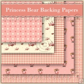 5 Princess Bear Backing Papers Download (C170)