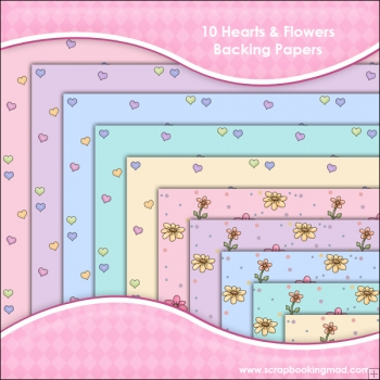 10 Hearts & Flowers Backing Paper Download