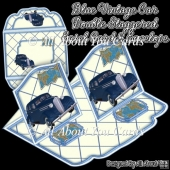 Blue Vintage Car Double Staggered Easel Card