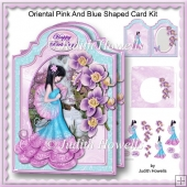 Oriental Pink And Blue Shaped Card Kit