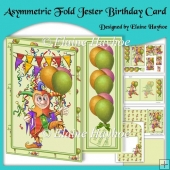 Asymmetric Fold Jester Birthday Card